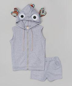 Another great find on #zulily! Gray Hooded Vest & Shorts - Infant, Toddler & Girls #zulilyfinds