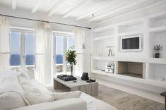 Greece Villa Living Room Design in Mykonos Beach Living Room, Coastal Living Rooms, Home And Living, Living Room Decor, Living Area, Style At Home, Mediterranean Decor, Beautiful Villas, White Furniture