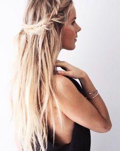 Love this beachy hair! Run a cream wax through your strands to create a soft but piece-y texture