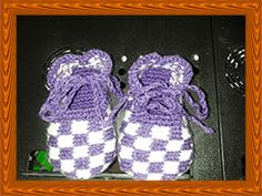 Hand knitted Gingham Style Baby Shoes