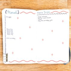 Next, many bullet journalers have at least two pages devoted to the big-picture view of each month: a monthly calendar page, and a monthly tasks page.