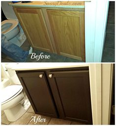 Rust-Oleum Cabinet Transformation Review (Before and after picture) Cabinet refinished -Cheap DIY | CraftyMorning.com