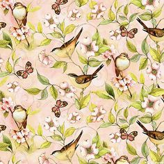 Rose Divine - Bird on Vine - Blush Pink -  Quilt Fabrics from www.eQuilter.com