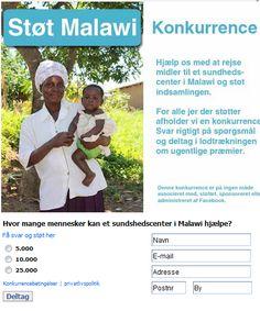 Campaign using Newsperience Facebook Poll App / Quiz-konkurrence  newsperience.dk  Malawi indsamling