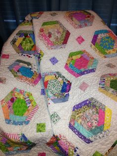A Scrappy 49 X 63 Wonky Hexagon Block Quilt by WrappingYouInWarmth, $154.00