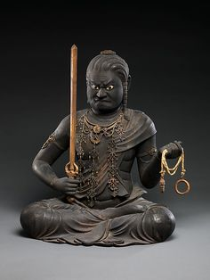 "Kaikei (Japanese, active 1183–1223). Fudō Myōō, early 13th century. Kamakura period (1185–1333). Japan. The Metropolitan Museum of Art, New York. Mary Griggs Burke Collection, Gift of the Mary and Jackson Burke Foundation, 2015. (2015.300.252a, b) | This work is exhibited in the ""Celebrating the Arts of Japan: The Mary Griggs Burke Collection"" exhibition, on view through January 22, 2017 #AsianArt100"
