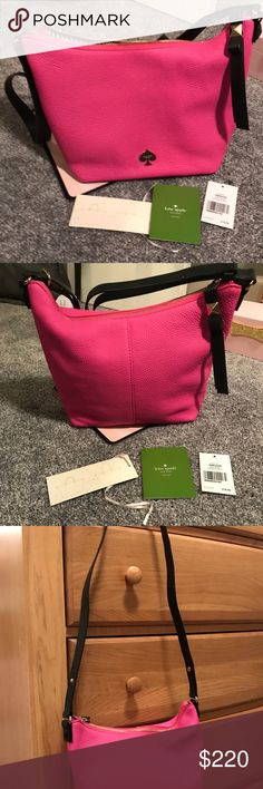 Kate Spade Pink Adjustable Strap Vivienne Handbag Kate Spade Pink Vivienne Leroy Street Handbag. Color is Snap Dragon. Brand new with tags and papers. It is authentic and bought online from Kate Spade. It has the Kate Spade authenticity tag on the inside lining. See picture. It has an adjustable strap so it can be worn as an ordinary handbag or crossbody. It has Kate Spade black bow on bottom. Has no signs of wear, spots, or scuffs. Comes with original brown dust bag. Just never carried it…