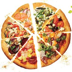 "Lower Cal Pizza Ideas - might need to make the ""Farmers's Market"" or ""Greek Austerity Cure""..."