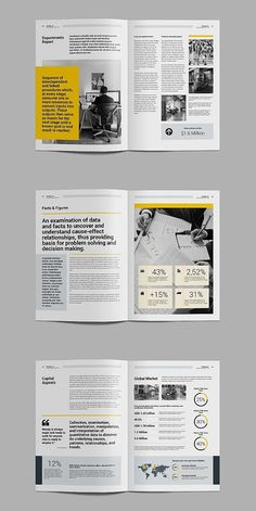 ETAILS The annual report, clean and creative template. This layout is suitable for any project purpose, very easy to use Flugblatt Design, Design Visual, Page Layout Design, Magazine Layout Design, Magazine Layouts, Trends Magazine, Design Trends, Logo Design, Text Layout