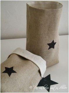 two tone linen bags #stars