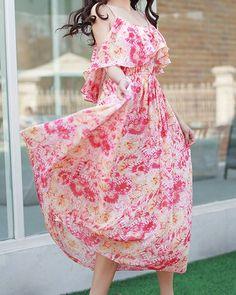Scoop Neck Off-The-Shoulder Floral Print Flounce Bohemian Chiffon Long Dress For Women