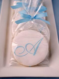 Monogram cookie -christening favor idea...I'm sure Lauren will be a fan