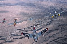 At the 2002 Nellis Air Show near Las Vegas, a North American F-86 Sabre heads up an A team in a USAF Heritage Flight: (from left) North American P-51 Mustang, Republic P-47 Thunderbolt (the original the Lockheed Martin F-35 named after), McDonnell Douglas (now Boeing)F-15 Eagle, Lockheed P-38 Lightning, & North American TF-51 - post war version of Mustang.