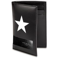 Givenchy White Star Billfold Card Case ($460) ❤ liked on Polyvore featuring bags, wallets, apparel & accessories, black, card case wallet, leather card case wallet, bill fold wallet, leather billfold wallet and real leather wallet