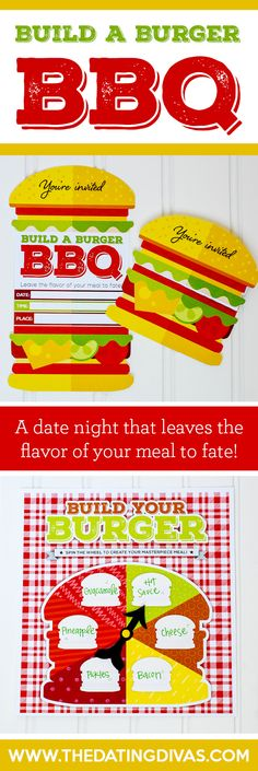 A group date night BBQ with a twist! Use the printables to determine what toppings to add to your burger AND how you will eat it! www.TheDatingDivas.com