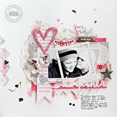 UmeNorskans scrapbookblogg: Together. Pink Paislee layout by Christin Gronnslett from sketch by Valeri Salmon.