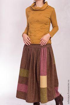 Юбки ручной работы. Ярмарка Мастеров - ручная работа Теплая шерстяная юбка со сборками на кокетке