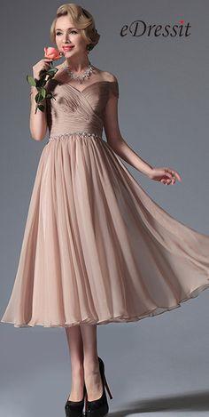 eDressit Rosy Brown Off Shoulder Tea Length Dress