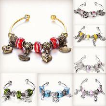 Tibeten antigo Sliver banhado a ouro pulseira de contas de vidro Murano DIY pulseiras para as mulheres jóias(China (Mainland))
