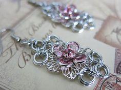 Swarovski Crystal Flower Chainmaille Earrings