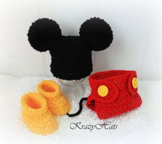 Mickey or Minnie Mouse hat, diaper cover and booties.