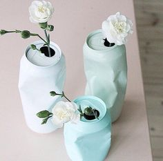 mood #juxtaposition this would be a cute #DIY for a centerpiece or anywhere you want a touch of humor and whimsy. Just spray paint some old soda or beer cans with pastel colors and insert flowers! #decorate #whynot | https://www.instagram.com/mrkatedotcom/