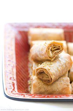 """Baklava Fingers ... gorgeous little taste delights ... via this blog, """"Baking Obsession""""."""