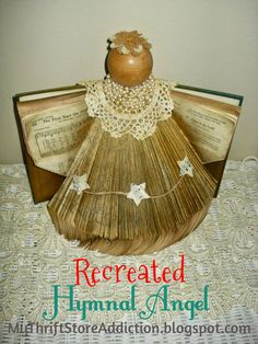 recreated hymnal angel using a book, christmas decorations, crafts, repurposing upcycling, seasonal holiday decor Easy Christmas Ornaments, Christmas Crafts, Christmas Decorations, Christmas 2016, Holiday Decorating, Christmas Ideas, Xmas, Folded Book Art, Book Folding