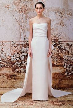 "Brides.com: Monique Lhuillier - Fall 2014. ""Portia"" strapless pink silk sheath wedding dress with a draped sweetheart bodice, Monique Lhuillier"