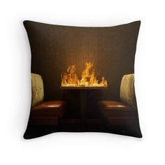 Pillow #fire #lovers #burn #flames # flame #table #restaurant #photo #design #redbubble
