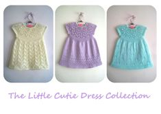 Discounted for a very limited time as part of Indie June!A gorgeous dress knit seamlessly in the round from the top down with a cute back button fastening to make for easy dressing.This delightful dress is also available along with 2 other pretty dresses in The Little Cutie Dress Collection E-book.Pattern includes the instructions to knit the dress in 7 sizes from Preemie to 6 yearsIncludes 3 different sleeve options: Cap sleeved (pictured), short sleeved and long sleeved making this a great…