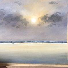 Watercolor Landscape, Abstract Watercolor, Landscape Art, Landscape Paintings, Blue Painting, Oil Painting On Canvas, Painting Frames, Seascape Paintings, Watercolor Paintings
