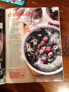 Chocolate and rasberry self-saucing pudding