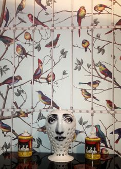 Our stand at Maison, Fornasetti II Uccelli wallpaper by Cole & Son. Birds on a repeatable tree, join panels together around a room, or use single trees in alcoves.