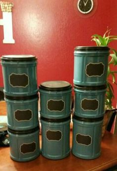 Using those red plastic Folgers containers with the black lids