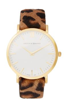 Leopard-Print Calf Hair and Gold-Plated Watch