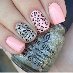 Leopard nail art. Peach and glitter nails. China Glaze polish. Polishes. Nail design.