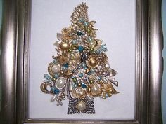 diy christmas ornaments made from vintage jewelry | Vintage Rhinestone Jewelry Christmas Tree, Pearls ... | DIY + Crafts ...  Not a tutorial, merely inspiration....  :)