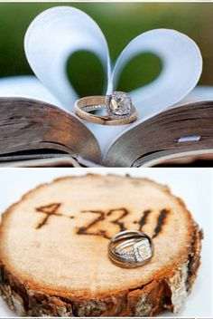 Top one - having the Bible with pages folded into a heart with our rings.   Bottom one - not sure if I like the tree look, but something with the date and our rings would be cute.