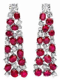 Ruby and Diamond cascade earrings