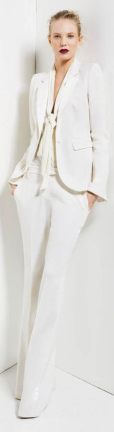 white on white - pant suit - looks like Akris, styled by Rachel Zoe