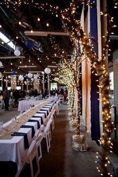navy blue and gold barn wedding decor /  /