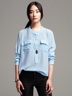 Light Silk Popover Blouse Product Image
