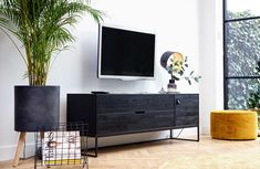 Silas oak tv unit in black night by woood - woood Living Room Tv, Living Room Modern, Interior Design Living Room, Home And Living, Dining Room, Tv Unit Decor, Tv Decor, Home Decor, Tv Furniture