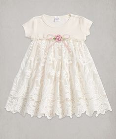 Love this Ivory Lace Accent Babydoll Dress - Infant on #zulily! #zulilyfinds