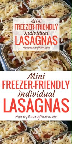 These mini individual lasagnas are freezer-friendly and can be made ahead of time! Theyre perfect for on-the-go lunches or dinners! They also work great for single people, busy schedules, and work/school lunches! Individual Freezer Meals, Make Ahead Freezer Meals, Easy Meals For Kids, Freezer Cooking, Kid Meals, Freezer Lasagna, Meat Lasagna, Parmesan Bratkartoffeln, Freezable Meals