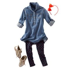 Spot On Chambray. Love this outfit for my girls, especially those sparkly shoes.