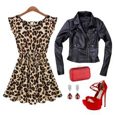 Make your leopard print dress glamorous with this black PU leather jacket, red sparkle evening clutch purse, strappy red platform high heels, and red crystal tear drop dangle earrings