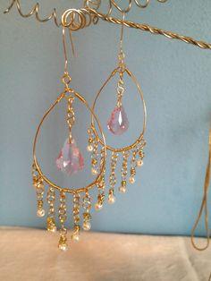 Chandelier Earrings w/ Swarovski Crystal Pendant by NotionsByNicki, $35.00