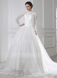Wedding Dresses - $316.99 - Ball-Gown High Neck Chapel Train Organza Wedding Dress With Ruffle Lace Beadwork (002015462) http://jjshouse.com/Ball-Gown-High-Neck-Chapel-Train-Organza-Wedding-Dress-With-Ruffle-Lace-Beadwork-002015462-g15462?ver=1